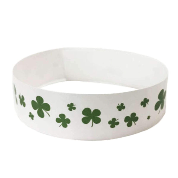 "Event Wristbands Tyvek Stock - Holiday Shamrock / White / 100 3/4"" Tyvek Wristbands Pre-Printed St. Patrick's Day"