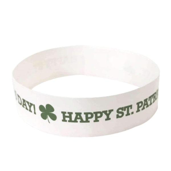 "Event Wristbands Tyvek Stock - Holiday St. Patrick's Day / White / 100 3/4"" Tyvek Wristbands Pre-Printed St. Patrick's Day"