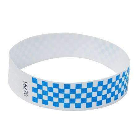 "Event Wristbands Tyvek Stock - Pre-Printed Checkerboard / Neon Blue / 100 1"" Tyvek Wristbands Pre-Printed Design Checkerboard"