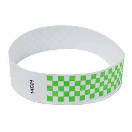 "Event Wristbands Tyvek Stock - Pre-Printed Checkerboard / Neon Green / 100 1"" Tyvek Wristbands Pre-Printed Design Checkerboard"