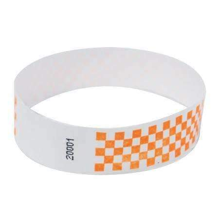 "Event Wristbands Tyvek Stock - Pre-Printed Checkerboard / Neon Orange / 100 1"" Tyvek Wristbands Pre-Printed Design Checkerboard"