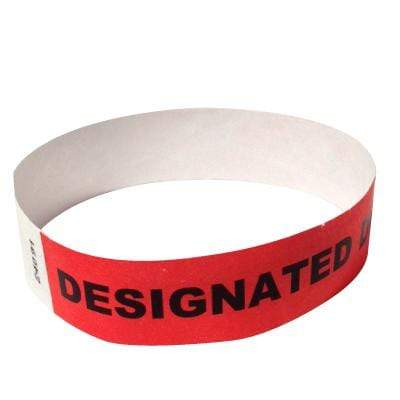 "Event Wristbands Tyvek Stock - Designated Driver 100 / Designated Driver / Bright Red 3/4"" Tyvek Wristbands Pre-Printed Designated Driver"