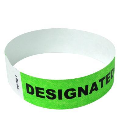"Event Wristbands Tyvek Stock - Designated Driver 100 / Designated Driver / Neon Green 3/4"" Tyvek Wristbands Pre-Printed Designated Driver"