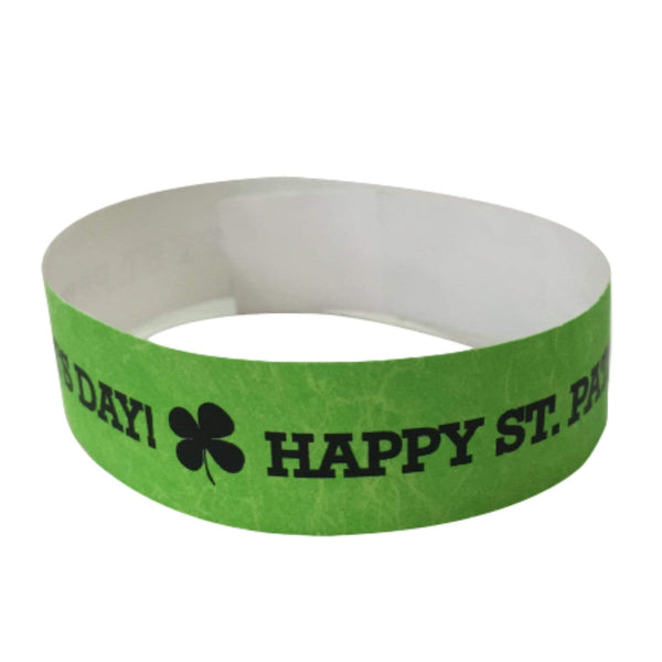 "Event Wristbands Tyvek Stock - Holiday St. Patrick's Day / Neon Green / 100 3/4"" Tyvek Wristbands Pre-Printed St. Patrick's Day"