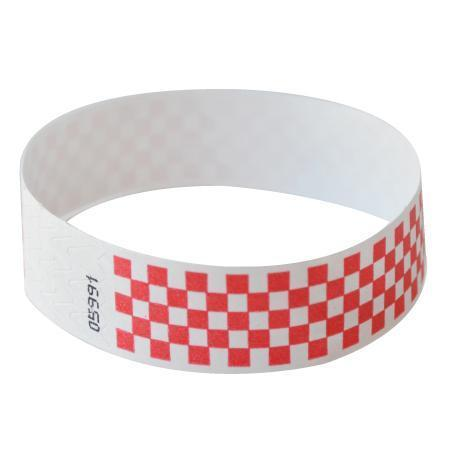 "Event Wristbands Tyvek Stock - Pre-Printed Checkerboard / Bright Red / 100 1"" Tyvek Wristbands Pre-Printed Design Checkerboard"