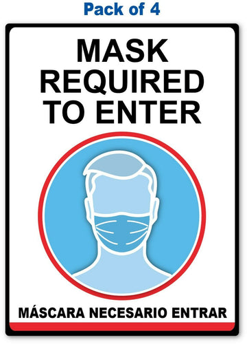 Mask Required To Enter Sticker - English / Spanish - 4 Pack