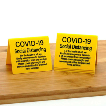 Social Distancing Signs, Table Top Tent Style, Plastic, 12pk