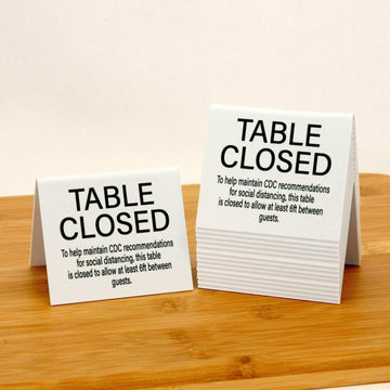 "Table Closed ""Social Distancing"" Plastic Table Tents, White, 15pk"