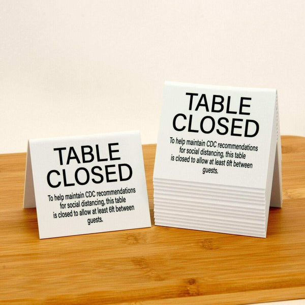 "power2thekat Table Closed ""Social Distancing"" Plastic Table Tents, White, 15pk"