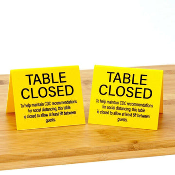 "Table Closed ""Social Distancing"" Plastic Table Tents, Yellow, 15pk"