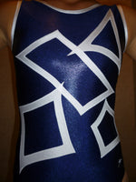 Geometric B Navy Black Mystique Tank Bodysuit