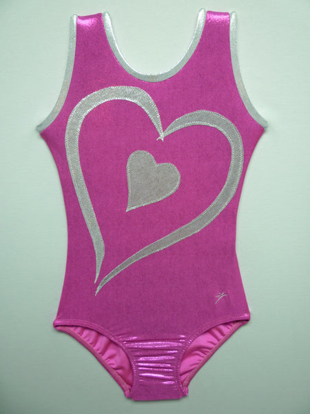 Double Heart  Fushia Mystique Tank Bodysuit
