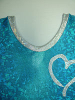 Heart- Open Small Turquoise Cracked Glass Tank Bodysuit