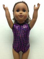 Doll Bodysuit - Purple Metallic Squares