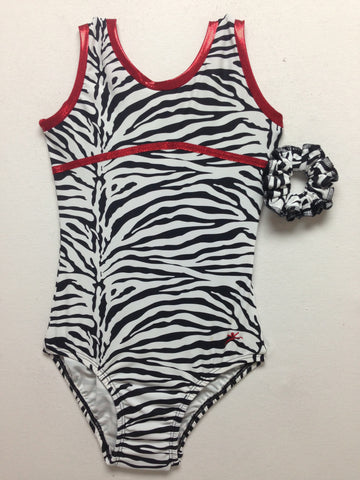 White Zebra w/ Red Applique Tank Bodysuit