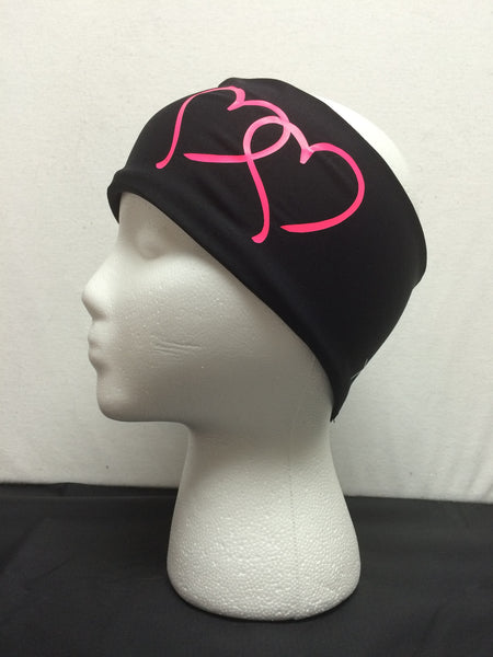 Headband- Ski, Bike, Run- Black Two-Hearts