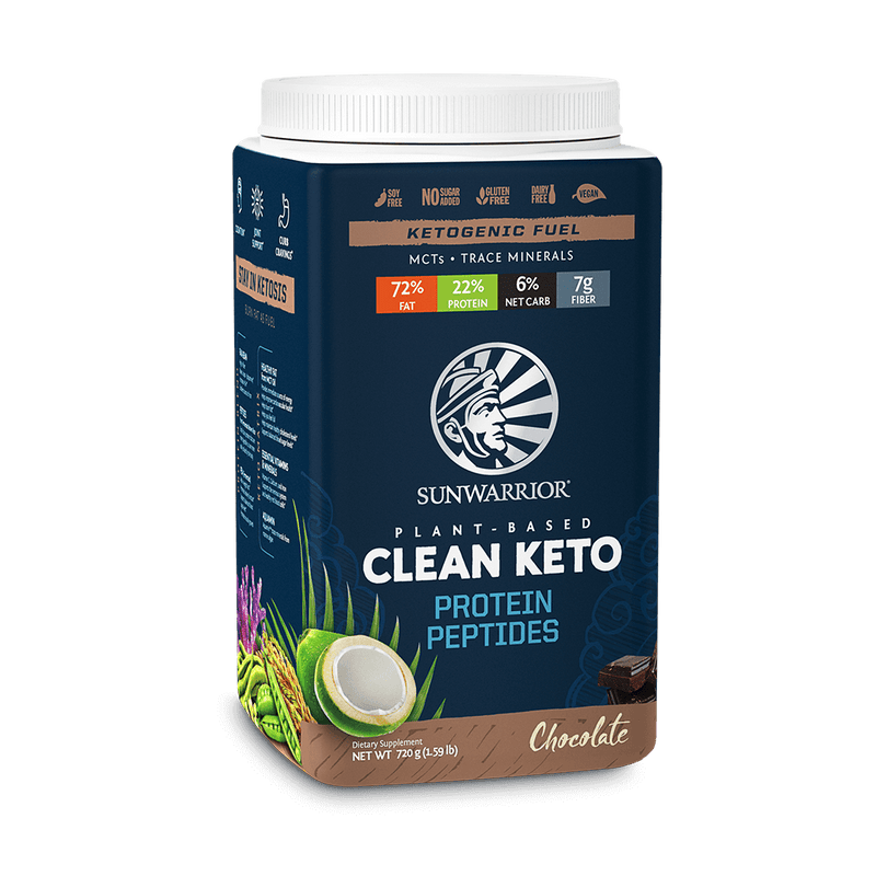 Sunwarrior Clean Keto Chocolat 720 Gr. face avant inclinée
