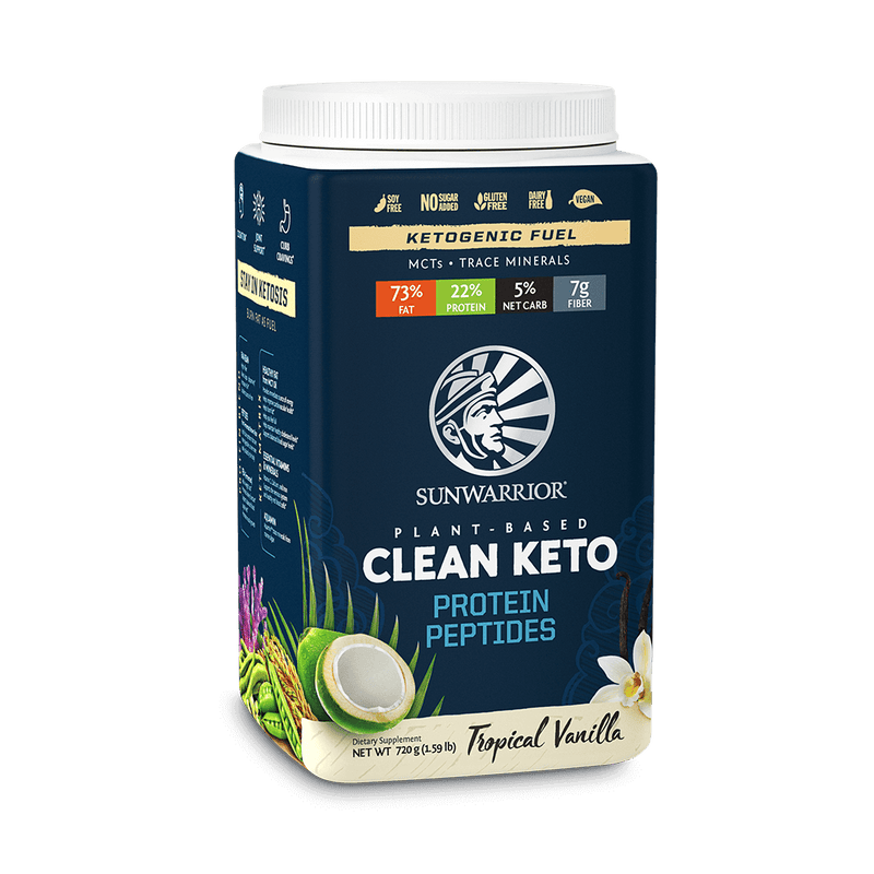 Sunwarrior Clean Keto Vanille Tropicale 720 Gr. face avant inclinée