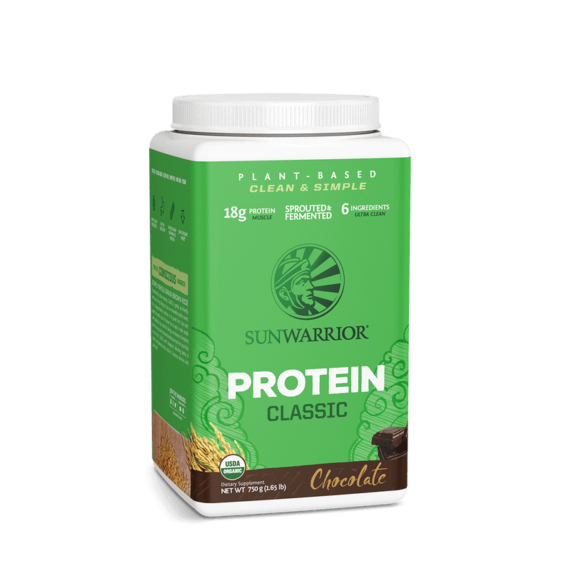 Sunwarrior Classic Protein Chocolat 750g tilted