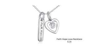 faith hope love 925 silver pendant necklace