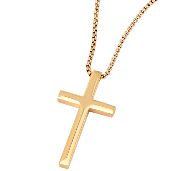 Men's Gold Titanium Steel Cross Necklace - Coastal Faith