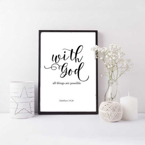 With God All Thing Are Possible Art Prints - No Frame - Coastal Faith
