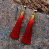 Long Tassel Drop Earrings Multiple Colors - Coastal Faith