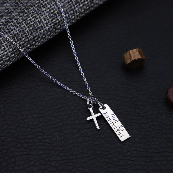 925 Silver Cross Pendant Necklace - Coastal Faith