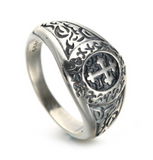 925 Sterling Silver Vintage Cross Signet Ring - Coastal Faith