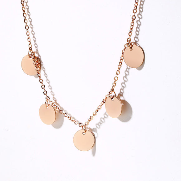 Dainty Disc Chain Titanium Steel Necklace - Coastal Faith