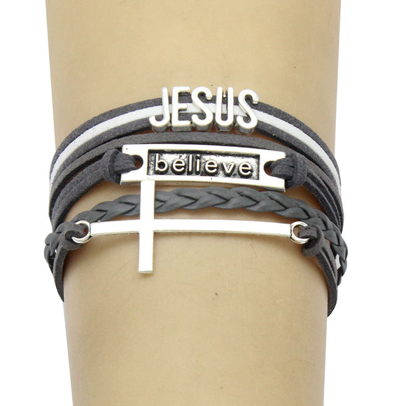 Hand Woven Jesus Believe Cross Leather and Metal Layered Bracelet - Coastal Faith