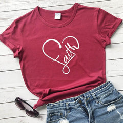 Love Faith in Heart T-Shirt Women