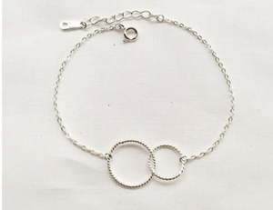 925 Sterling Silver Twist Double Circle Bracelet - Coastal Faith