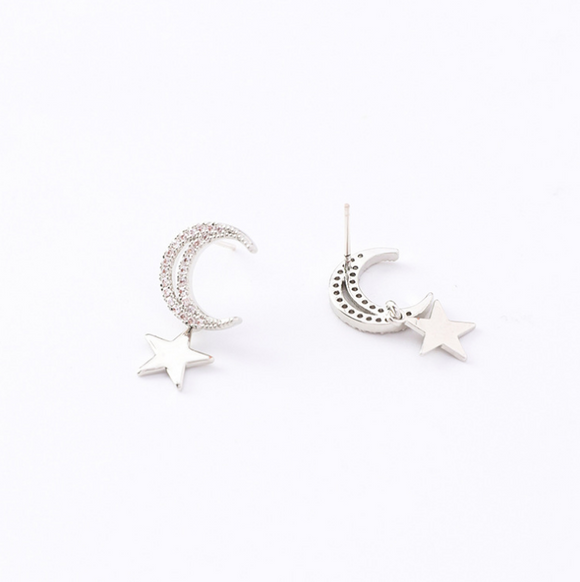 925 Sterling Silver Needle Star Moon Stud Earrings - Coastal Faith