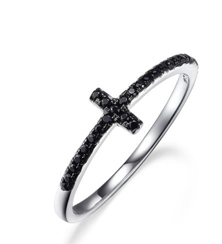 Black Crystal Sideways Cross Ring 925 Sterling Silver - Coastal Faith