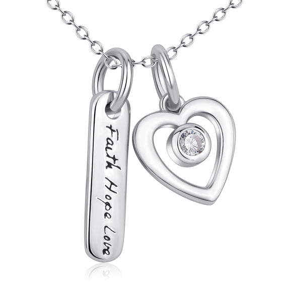 Faith Hope Love Heart Pendant 925 Silver Necklace - Coastal Faith