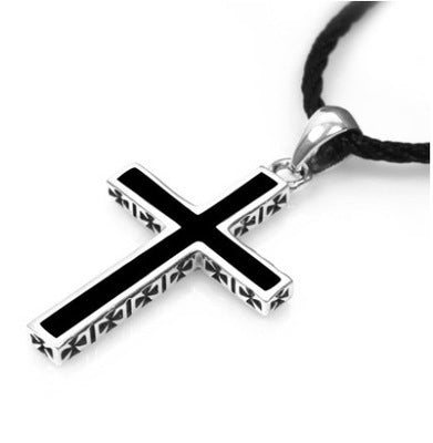 Men's 925 Silver Cross Necklace with Side Cross Engraved Crosses - Coastal Faith