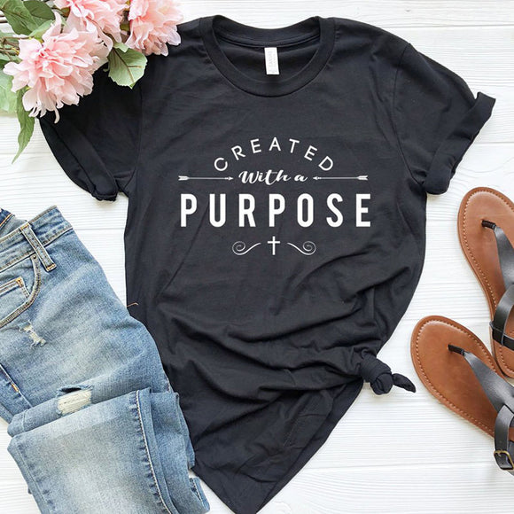 Created with A Purpose Cross Bible T-Shirt - Coastal Faith