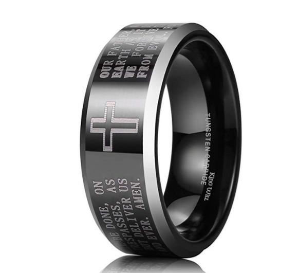 The Lord's Prayer Tungsten Ring - Coastal Faith