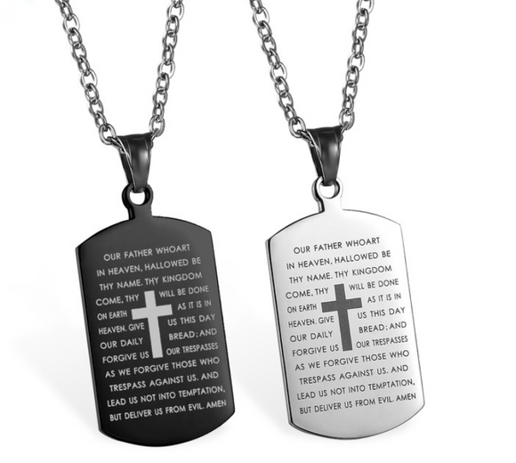 The Lord's Prayer Stainless Steel Cross Tag Pendant - Coastal Faith
