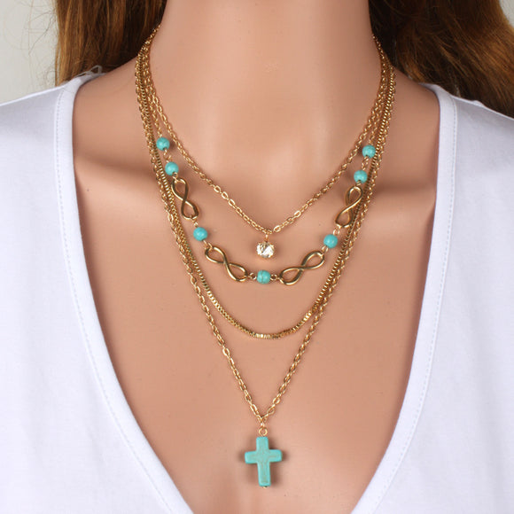 Boho Turquoise Cross Multi Layered Necklace - Coastal Faith