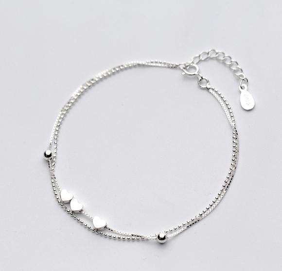 925 Sterling Silver Dainty Triple Heart Charm Bracelet - Coastal Faith