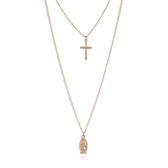 Madonna Layered Cross Necklace - Coastal Faith