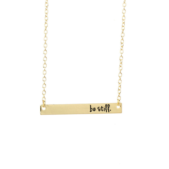 Be Still Horizontal Sideways Bar Necklace Women - Coastal Faith
