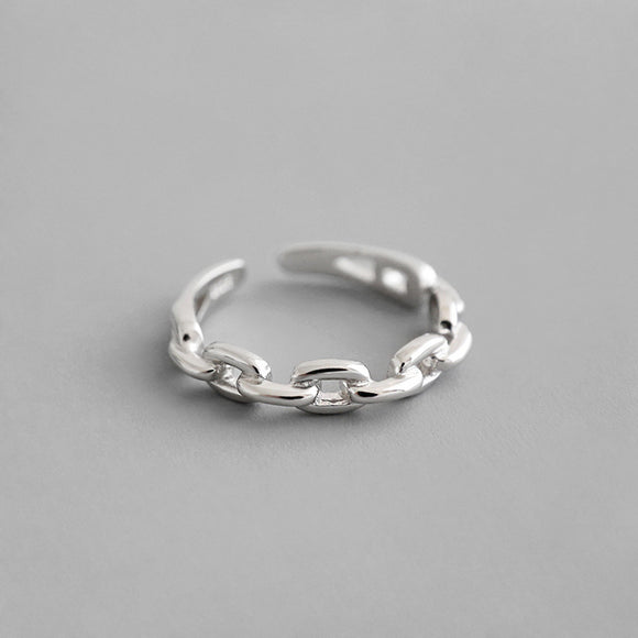 925 Silver Minimalist Adjustable Chain Link Ring - Coastal Faith