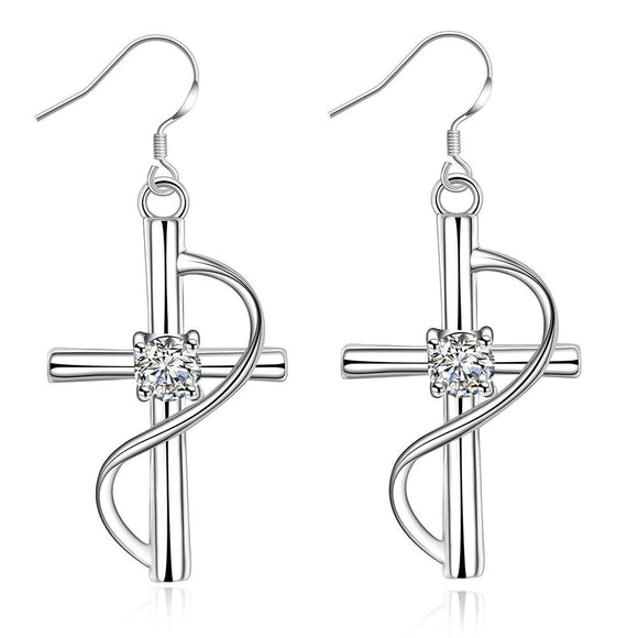 Silver Crystal Cross Earrings - Coastal Faith