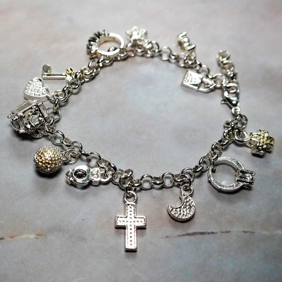 925 Sterling Silver Cross Charm Bracelet - Coastal Faith