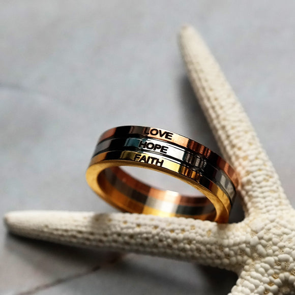 Women's Three Tone Stacked Ring LOVE HOPE FAITH Ring - Coastal Faith