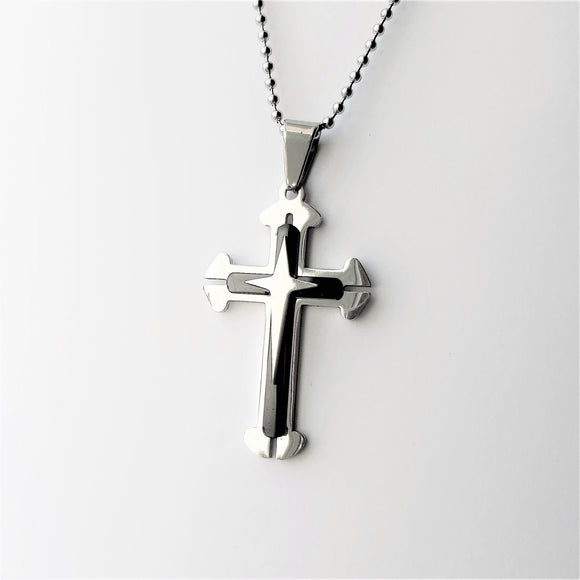 Men's Byzantine Steel Cross Necklace - Coastal Faith