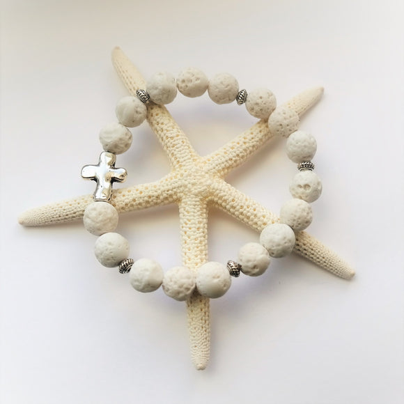 White Lava Rock Cross Beach Bracelet - Coastal Faith